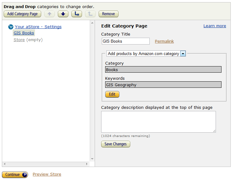 Use a category to populate your aStore while integrating it.